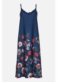 Cellbes Koszula nocna ze satyny granatowy female niebieski 34/36. Kolor: niebieski. Materiał: satyna. Wzór: koronka
