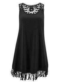 Sukienka plażowa z dżerseju bonprix czarny. Okazja: na plażę. Kolor: czarny. Materiał: jersey. Wzór: koronka, aplikacja