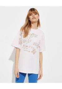 Kenzo - KENZO - Różowa koszulka z grafiką - EDYCJA LIMITOWANA. Kolor: różowy, wielokolorowy, fioletowy. Materiał: bawełna. Wzór: napisy, aplikacja