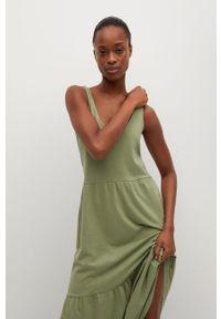 mango - Mango - Sukienka MASITO. Kolor: brązowy. Materiał: dzianina, bawełna. Długość rękawa: na ramiączkach. Typ sukienki: rozkloszowane
