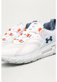 Białe buty sportowe Under Armour na sznurówki, z okrągłym noskiem, z cholewką
