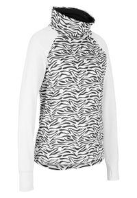 Biała bluzka bonprix z długim rękawem, długa, sportowa