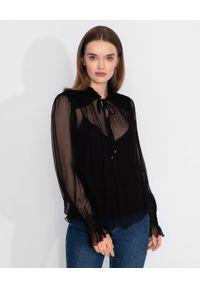 Nissa - NISSA - Czarna bluzka z jedwabiu. Kolor: czarny. Materiał: jedwab. Długość: długie. Styl: elegancki