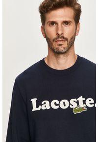 Niebieska bluza nierozpinana Lacoste na co dzień, bez kaptura, casualowa, z aplikacjami