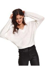 Biały sweter TOP SECRET z dekoltem w serek