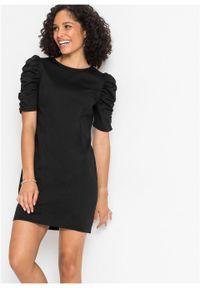 Sukienka z dżerseju bonprix czarny. Kolor: czarny. Materiał: jersey. Długość rękawa: krótki rękaw