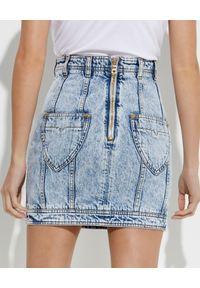 Balmain - BALMAIN - Krótka jeansowa spódnica. Okazja: na co dzień. Kolor: niebieski. Materiał: jeans. Długość: krótkie. Styl: casual