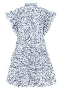 Sukienka bonprix biało-ciemnoniebieski w kwiaty. Kolor: biały. Wzór: kwiaty
