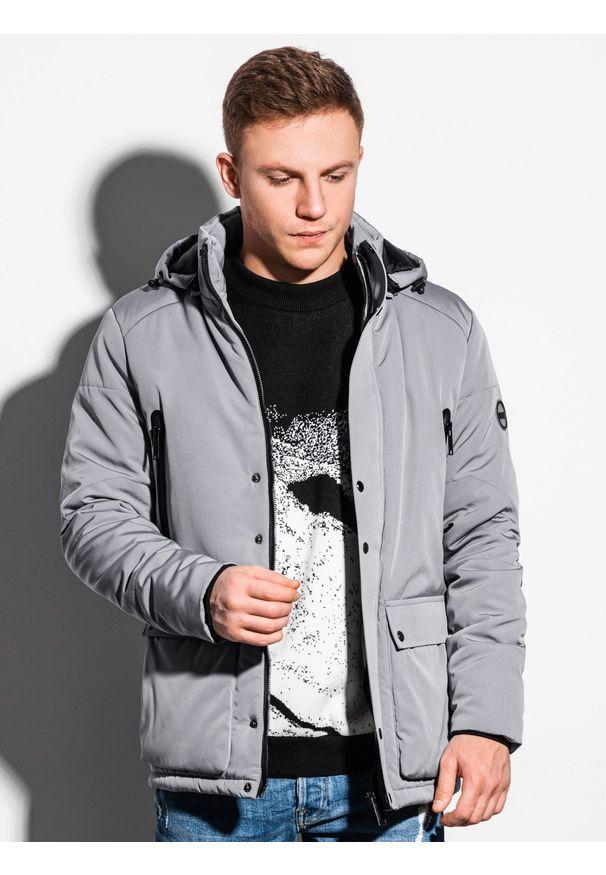 Szara kurtka Ombre Clothing ze stójką, na zimę