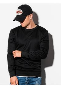 Ombre Clothing - Bluza męska bez kaptura B978 - czarna - XXL. Okazja: na co dzień. Typ kołnierza: bez kaptura. Kolor: czarny. Materiał: bawełna, materiał, poliester. Styl: klasyczny, casual