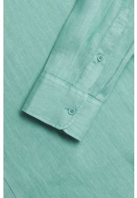 Mango Man - Koszula Cacuta. Typ kołnierza: kołnierzyk stójkowy. Kolor: turkusowy. Materiał: włókno, tkanina. Długość rękawa: długi rękaw. Długość: długie. Wzór: gładki