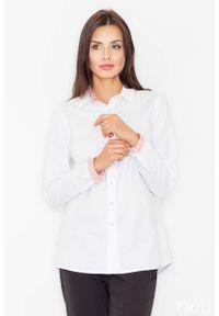 Figl - Biało Czerwona Klasyczna Koszula z Wykończeniami w Paski. Kolor: biały, wielokolorowy, czerwony. Materiał: bawełna, poliester. Wzór: paski. Styl: klasyczny