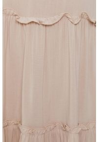 Jacqueline de Yong - Sukienka. Kolor: beżowy. Materiał: tkanina. Wzór: gładki. Typ sukienki: rozkloszowane