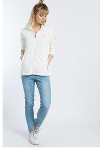 Biała bluza rozpinana columbia na co dzień, casualowa, bez kaptura