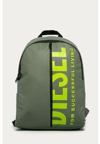 Oliwkowy plecak Diesel z nadrukiem