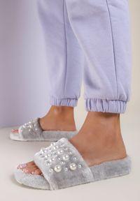 Renee - Szare Kapcie Elineva. Nosek buta: okrągły. Zapięcie: bez zapięcia. Kolor: szary. Materiał: futro, materiał. Wzór: aplikacja