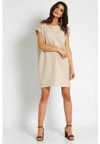 e-margeritka - Sukienka trapezowa odsłaniająca ramiona - 34. Materiał: poliester, materiał. Typ sukienki: trapezowe. Styl: elegancki. Długość: mini
