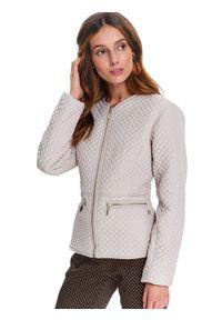 Kremowa kurtka TOP SECRET elegancka, w kolorowe wzory, krótka