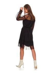 TOP SECRET - Sukienka damska w groszki. Okazja: na imprezę. Typ kołnierza: kołnierzyk stójkowy. Kolor: czarny. Materiał: tiul, materiał. Wzór: grochy. Sezon: zima. Styl: klasyczny, elegancki