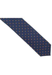 Adam Collection - Granatowy krawat męski w pomarańczowe kropki D282. Kolor: pomarańczowy, niebieski, wielokolorowy. Materiał: tkanina, mikrofibra. Wzór: kropki