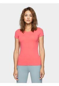 4f - T-shirt damski. Materiał: elastan, materiał, bawełna. Długość rękawa: krótki rękaw. Długość: krótkie. Sport: fitness, turystyka piesza
