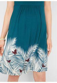 Sukienka ciążowa LENZING™ ECOVERO™ bonprix niebieskozielony morski z nadrukiem. Kolekcja: moda ciążowa. Kolor: niebieski. Materiał: wiskoza. Wzór: nadruk. Sezon: lato