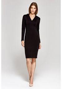 Nife - Elegancka Ołówkowa Sukienka - Czarna. Kolor: czarny. Materiał: wiskoza, poliester. Typ sukienki: ołówkowe. Styl: elegancki