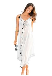 Sukienka plażowa bonprix biało-czarny z nadrukiem. Okazja: na plażę. Kolor: biały. Wzór: nadruk