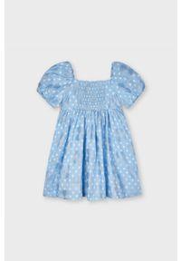 Niebieska sukienka Mayoral z dekoltem karo, z krótkim rękawem, mini, rozkloszowana