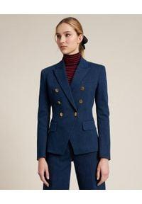 Luisa Spagnoli - LUISA SPAGNOLI - Dwurzędowa marynarka Vock. Kolor: niebieski. Materiał: bawełna. Długość rękawa: długi rękaw. Długość: długie