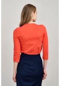 Marie Zélie - Bluza Hermina czerwień wiosenna. Kolor: czerwony. Materiał: bawełna, dzianina, elastan. Sezon: wiosna