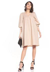 Tessita - Midi Sukienka z Bufiastym Rękawem - Cappuccino. Materiał: bawełna. Długość: midi