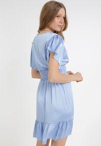 Born2be - Niebieska Sukienka Daphniphe. Typ kołnierza: dekolt gorset. Kolor: niebieski. Wzór: aplikacja. Sezon: lato, wiosna. Typ sukienki: gorsetowe. Długość: mini
