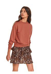 TOP SECRET - Bluza damska nierozpinana. Okazja: na co dzień. Kolor: czerwony. Materiał: tkanina. Długość rękawa: długi rękaw. Długość: długie. Wzór: gładki. Sezon: jesień. Styl: klasyczny, casual