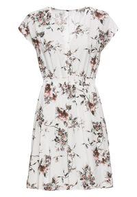 Sukienka z nadrukiem bonprix biały w kwiaty. Kolor: biały. Wzór: nadruk, kwiaty