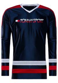 Niebieska koszulka z długim rękawem Tommy Sport sportowa