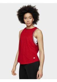 4f - Top damski. Kolor: czerwony. Materiał: dzianina, bawełna. Długość: krótkie