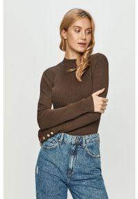 Brązowy sweter Jacqueline de Yong długi, z długim rękawem
