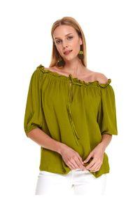 TOP SECRET - Bluzka z falbanką i wiązaniem. Okazja: na co dzień. Kolor: zielony. Sezon: jesień. Styl: casual, elegancki