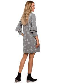 Sukienka MOE z nadrukiem, z falbankami, prosta, mini