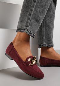 Renee - Bordowe Mokasyny Trypheis. Wysokość cholewki: przed kostkę. Kolor: czerwony. Materiał: jeans. Szerokość cholewki: normalna. Obcas: na obcasie. Styl: wizytowy. Wysokość obcasa: niski