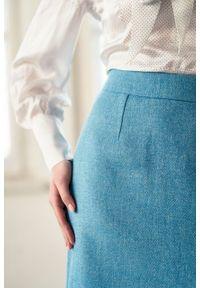 Marie Zélie - Spódnica Leto błękitna – wełna Harris Tweed. Kolor: niebieski. Materiał: wełna. Wzór: ze splotem