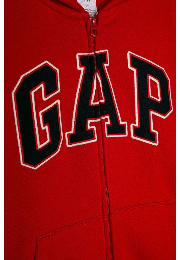 Czerwona bluza rozpinana GAP casualowa, z kapturem