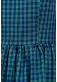 Marie Zélie - Sukienka Melania bawełna w zieloną kratę. Kolor: zielony. Materiał: bawełna. Długość rękawa: krótki rękaw