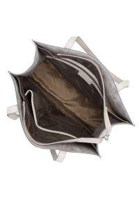 Wittchen - Shopperka ze skóry minimalistyczna. Kolor: szary. Wzór: haft, geometria. Dodatki: z haftem. Materiał: skórzane. Styl: elegancki, casual
