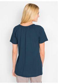 Niebieska bluzka bonprix krótka, z krótkim rękawem