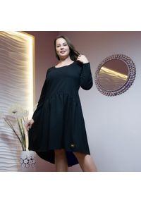 Czarna sukienka dla puszystych Moda Size Plus Iwanek z długim rękawem, z aplikacjami