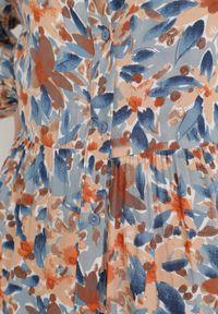 Born2be - Niebiesko-Pomarańczowa Sukienka Barbeira. Kolor: niebieski. Wzór: kwiaty, aplikacja, kolorowy. Długość: maxi