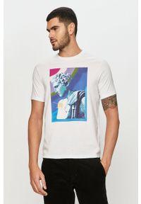 Biały t-shirt Armani Exchange z nadrukiem, casualowy, na co dzień