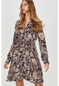 Wielokolorowa sukienka Answear Lab z długim rękawem, mini, prosta, wakacyjna